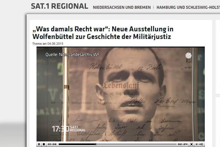 """Sat1 berichtet über die Eröffnung der Ausstellung """"Was damals Recht war..."""""""
