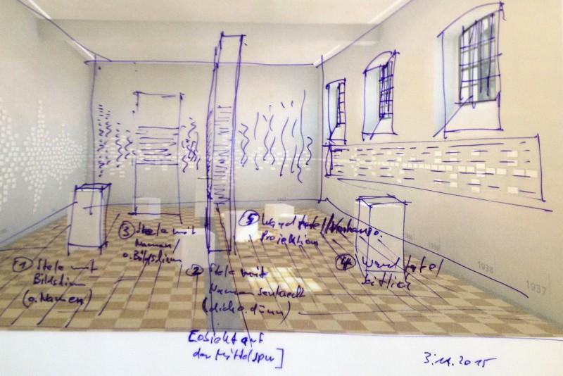 Eine frühe Ideensammlung zur Namenspräsentation im ehemaligen Hinrichtungsgebäude, Grafik: Hinz & Kunst